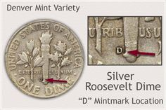 Identify Location of D Mintmark on Silver Roosevelt Dimes