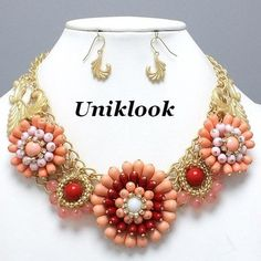 Retro Art Deco Flair Sexy Pink Coral Gold Flower Explosion Pearl Necklace Set