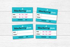 Blueberry Jam Label, Food Packaging, Print-at-home Labels, Food Gifts, Printable DIY