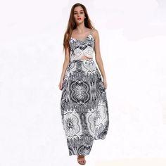 Two-Piece Chiffon Blue And White Lace Maxi Dress, M - 3XL