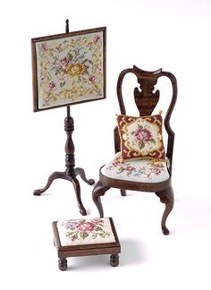 Miniature needlepoint, chair seat, footstool and firescreen
