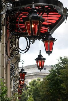 art nouveau lamps: This Ivy House Lantern Post, Lantern Lamp, Red Lantern, Wrought Iron Decor, Restaurant Paris, Porche, Paris Arrondissement, Ivy House, Belle Villa