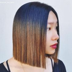 Black To Brown Ombre For Blunt Bob