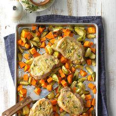 Lemon-Dijon Pork Sheet-Pan Supper Recipe Taste of Home healthy dinner ideas - Dinner Recipes Healthy Dinner Options, Healthy Dinner Recipes, Healthy Dinners, Diabetic Recipes, Supper Recipes, Pork Recipes, Pork Meals, Cheese Recipes, Recipe Sheets
