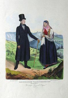 Maehrische Volkstrachten Prerauer-Kreis Herrschaft Wallach, Meseritsch, Ehepaar Wallachen by Wilh. Horn