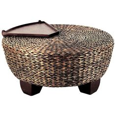 "42"" Hotel California Round Ottoman / Coffee Table - Abaca Weave ♥ ♥ - Discovered at www.dcgstores.com..."