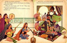 lowell hess art Illustration Nocturne, Children's Book Illustration, Wrath And The Dawn, Black Magic Book, Arabian Art, Fantasy Heroes, Ali Baba, Ancient Persia, Kids Story Books