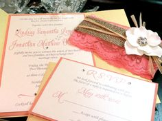 Burlap Lace Gate Fold Wedding Invitation by peachykeenevents