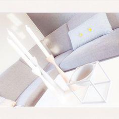 Scandinavian White and Gray pastel. FREEMOVER.se candlesticks Rolf™ new mid-century modern by Maria Lovisa Dahlberg.