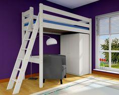 Hochbett Stockholm 2, H215 cm, L2 schräge Leiter, Kiefer weiß Hochbetten