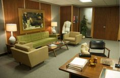 Photos showing the impeccably styled interior in 60s modern furniture of the 'Sterling Cooper Draper Pryce' advertising agency, featured in ...