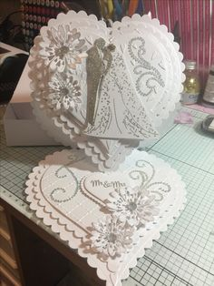 Wedding card – The Best Ideas Wedding Day Cards, Wedding Cards Handmade, Wedding Anniversary Cards, Fancy Fold Cards, Folded Cards, Chloes Creative Cards, Tattered Lace Cards, Engagement Cards, Shaped Cards