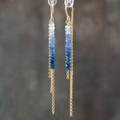 Dazzling natural sapphire gems have been carefully hand-picked and strung to create this beautiful ombre effect. They have been hand crafted into this elegant U-threader earrings. Shown in 14K Gold Filled, also available in Sterling Silver. Elegant, sexy, modern! Great gift for a