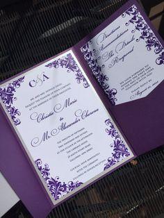 Pocket Wedding Invitations Wedding Invitations by JaxDesigns27 #weddinginvitations #purpleweddinginvitations #purpleweddings