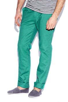 Electric Green Cotton Slim Chinos, £20
