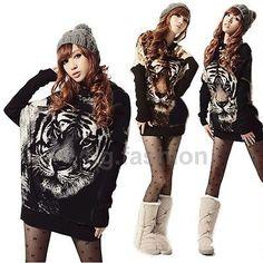 Sexy Women's Cool Tiger Print Knitted Loose Mini Dress Jumper AU S M L XL