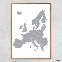 Plakat - Europakort i grå og hvid