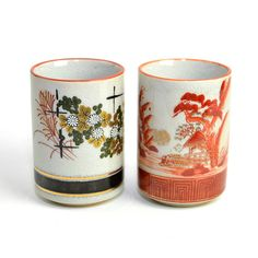 #Vintage #Japanese Traditional #Art #Tumbler Style #Cups #Asian #Oriental #Decor #Coffee #Tea by OneRustyNail on #Etsy