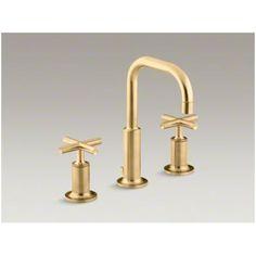 Purist Vibrant Moderne Brushed Gold Bathroom Sink Faucets | Bathroom ...