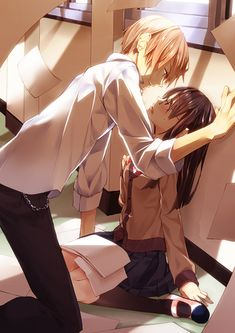 ✮ ANIME ART ✮ anime couple. . .romantic. . .love. . .sweet. . .school uniform. . .passion. . .falling papers. . .kawaii