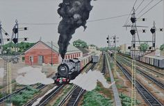 Railroad Painting - Smoke And Steam by John Houseman