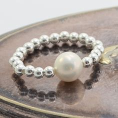 Silver ball ring with pearl Pearl Ring, Pearl Bracelet, Pearl Jewelry, Pearl Necklace, Silver Beads, Silver Rings, White Freshwater Pearl, Delicate Jewelry, Little Gifts