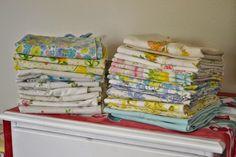 Estate sale haul of vintage pillowcases