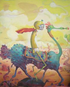 Mexican graffiti artist Dhear One creates a wacky surreal illustration of a yellow person on an alien horse « « Mayhem & Muse
