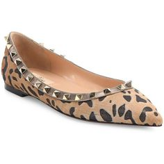 Valentino Rockstud Leopard-Print Calf Hair Point-Toe Flats ($1,095) ❤ liked on Polyvore featuring shoes, flats, apparel & accessories, multi, flat pumps, studded flats, leopard calf hair flats, pointed-toe flats and flat shoes