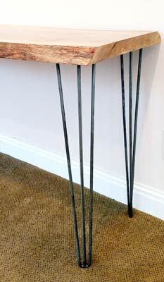 Hairpin leg dining table mid century modern reclaimed wood just the legs hairpin legs on a wooden slab workwithnaturefo