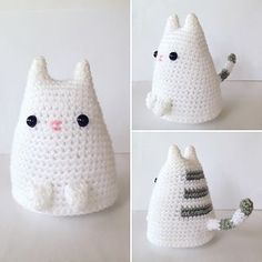 Dumpling Kitty is a cute pudgy kitty whose pattern is available for free! Her body is crocheted with a flat base so she sits nicely wherever you place her, waiting patiently for treats
