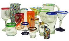 Drinking Glasses - Mexican Hand Blown Glass for your Bar, Kitchen, and Home Entertainment. Drinking Glasses and Pitchers from Mexico: Magellan Traders
