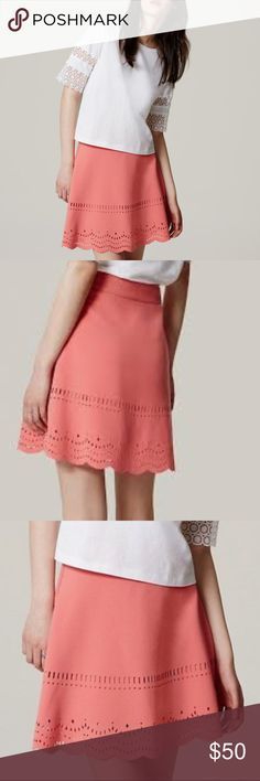 NWOT LOFT Scalloped Pink Skirt Beautiful scalloped coral -pink skirt from Ann Taylor LOFT. This skirt looks great with a tucked in white shirt, pair with ballet flats and you've got a beautiful, yet professional outfit for work. This high-waisted skirt falls a little above the knee.  Shell: 64% Polyester; 33% Rayon; 3% Spandex Lining: 100% Polyester Dryclean Waist: 13 inches across Length: 18 inches long  *First three pictures are from LOFT's official website, all others are my own. LOFT…