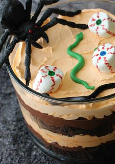 Halloween Trifle Dessert — This Halloween dessert is not only creepy, but it's tasty too! Recipe and photo by blogger, Liz Latham of www.hoosierhomemade.com