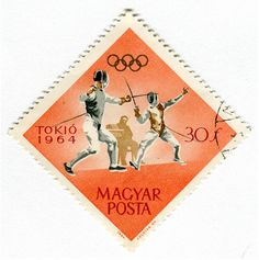 Magyar Posta Stamp: Olympic Soccer Fencing Repinned by Hub City Fencing Academy of Edison, NJ.