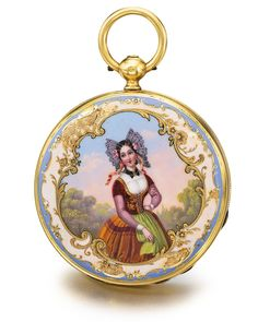 Patek Philippe | Lot | Sotheby's A FINE AND RARE YELLOW GOLD OPEN FACED WATCH WITH ENAMEL PORTRAIT OF A LADY NO 4627 MADE IN 1850