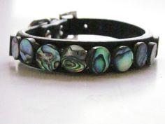 Small Black Leather Pet Collar with Iridiscent by SplendidStones. $17.00, via Etsy.