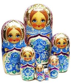 Pink Poppy Flower Head Scarf Matryoshka Russian Nesting Dolls Matrioshka 7 Pcs