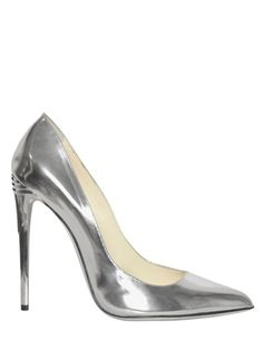 BALMAIN - 100MM SILVER PATENT LEATHER PUMPS Purchase @ http://rstyle.me/~eodO
