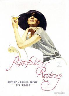 «Afiche en la concepción de Ludwig Hohlwein, a favor del vino alemán Kurpfalz Riesling (1925)».