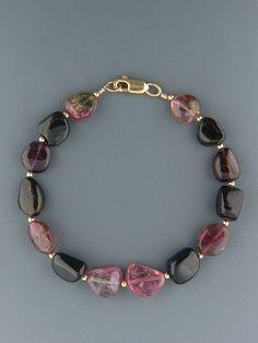 Tourmaline Bracelet - irregular stones with Gold beads