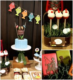Gone Fishing themed birthday party via Kara's Party Ideas KarasPartyIdeas.com | Cupcakes, favors, recipes, desserts, and more! #fishingparty...