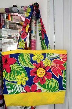 *Xô depressão*: Ecobag, ou sacola de praia, ou maxi-bolsa, ou bolsa para notebook de chita!!!- passo-a-passo