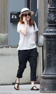 Full of joy: The Oscar-winning Still Alice actress was spotted laughing and joking on her phone
