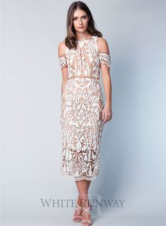 Jasmine Dress by Thurley. An elegant midi dress by Thurley. A off shoulder style featuring intricate bead details and delicate scallop hem on the skirt. Cocktail Bridesmaid Dresses, Cocktail Dresses Online, Elegant Midi Dresses, Pretty Dresses, One Shoulder Cocktail Dress, Cold Shoulder Dress, Dresses To Wear To A Wedding, Wedding Gowns, White Runway