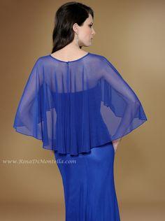 Rina Di Montella Special Occasion Dress 1743 W/ CAPLET & SHAWL Back close up  http://RinaDiMontella.com//style/1743