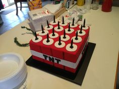 "mynekraft:    Dragonfly Cake's ""Minecraft TNT cake"" - a special birthday treat. Well done again Fiona!"