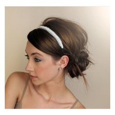messy bun and headband. Hairstyles and Beauty Tips ❤ liked on Polyvore