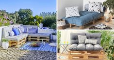 11 Comfortable Furniture Ideas to Craft with Pallets + Cushions (Indoor & Outdoor), Pallet Cushions, Table Palette, Pallet Crafts, Indoor Outdoor, Outdoor Decor, Outdoor Furniture Sets, Furniture Ideas, New Homes, Wood