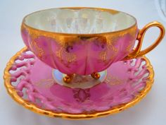 Vintage Teacup and Saucer  Pink and Gold Royal by EratiqueJewels, $34.00